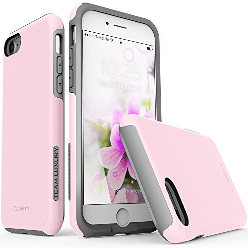 iPhone 7 Case, iPhone 8 Case, TEAM LUXURY [Clarity Series] UPDATED G-II Pink Ultra Defender TPU + PC [Shock Absorbent] Premium Protective Case - for Apple iPhone 7 & 8 (Rose Quartz/ Gray) - Tpu Diamond Pattern