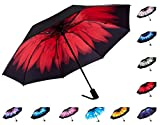 Fidus Reverse/Inverted Automatic Windproof Folding Travel Umbrella - Compact Lightweight Portable Outdoor UV Protection Golf Umbrella For Women Men Kids-red rose