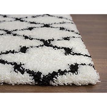 Soft & Plush Geometric Trellis Shag Rug for Bedroom | Living Room | Dining Room 5 x 7, White & Black