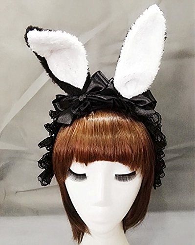 Gothic Women Bunny Rabbit Ear Alice Headband Hairband Party Club Rose Ribbon Hair Band Fancy Dress Lolita Handmade (A)