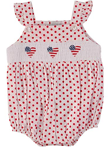 Baby Girl Bubble Hand Smocked American Flags on Red Polka - Bubble Smocked