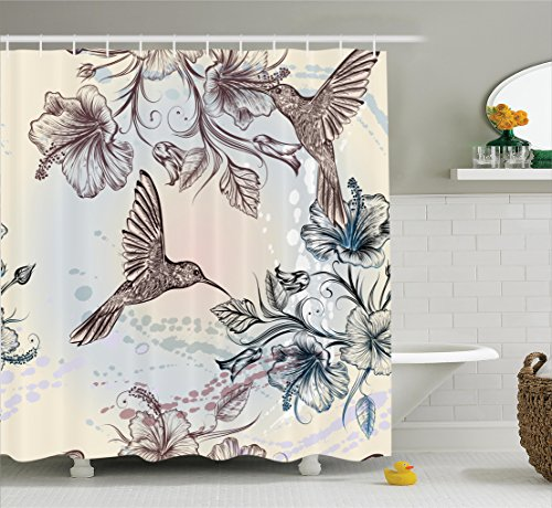 Antique Easter Decorations - Ambesonne Hummingbirds Decorations Shower Curtain Set, Birds and Hibiscus Flowers Nostalgia Antique Artistic Design Classic Home, Bathroom Accessories, 69W X 70L inches, Teal Brown