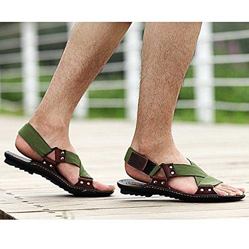 pelle sport Color Green uomo da esterno adatti casual uomo Sandali Army in interni Brown e 42 per per da con per regolabili Xiaoqin EU Size punta aperta X6tRwxqx