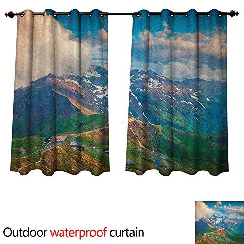 - Anshesix Mountain Outdoor Ultraviolet Protective Curtains Grossglockner High Alpine Road in Austria European Landscape Wanderlust Theme W96 x L72(245cm x 183cm)