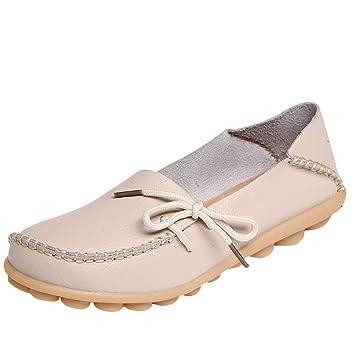 HhGold Mocasines de Cuero de Confort para el Trabajo para Mujer Mocasines Planos Zapatillas (Color : Style 1-Beige, tamaño : 4/4.5 UK): Amazon.es: Hogar