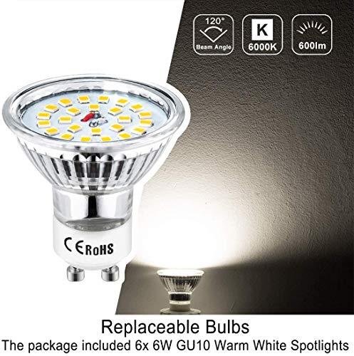 51wrBl%2BV5VL 🌞Diseño Moderno: Esta lámpara de techo salón es fabricado con efecto de níquel mate, bien acabado. Es ajustable que conviene por su versatilidad y baja generacion de calor. Destaca por su elegancia, delicada, resistencia y antioxidante. Perfecto para techo e interiores. 🌞Montaje Fácil: La lámpara techo focos LED se pueden reemplazar por GU10 (menos de 50W). No solo ofrece una iluminación LED de fácil montaje con transformador incluido, sino que estos focos de 230V se pueden utilizar en habitaciones, dormitorios, cocinas, pasillos, etc. Ojo: Instalar el soporte con un destornillador en la pared & techo, conectar la lámpara al soporte sin hacer agujero. 🌞Pivotante: wowatt lámpara foco de 6W son orientables y ajustables a propia preferencia. Longitud total de la luz del techo: 120 cm. Amplitud de la varilla: 1,2 cm. Dimensiones de la base: 8 x 8cm. Sumergen cada habitación con una iluminación adecuada gracias a sus cabezales giratorios. Ofrecen una larga vida útil de mas de 30000h de luz blanca fría.