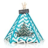 Cheap little dove Pet Teepee Dog(Puppy) & Cat Bed – Portable Pet Tents & Houses for Dog(Puppy) & Cat Blue Strip Style 24 Inch no Cushion