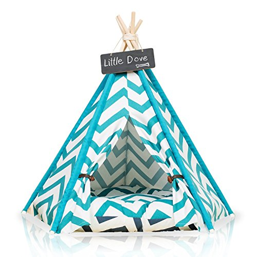 little dove Pet Teepee Dog(Puppy) & Cat Bed – Portable Pet Tents & Houses for Dog(Puppy) & Cat Blue Strip Style (with or…