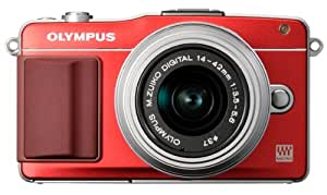 Olympus E-PM2 Mirrorless Digital Camera with 14-42mm Lens (Red) (Old Model)