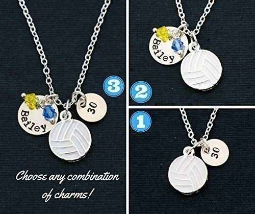 Volleyball Necklace – DII ABC - Team Gift – Handstamped Handmade – 1/2, 3/8 Inch 12.7, 9MM Discs – Choose School Color Crystals – Customize Name and Number – Fast 1 Day Shipping -