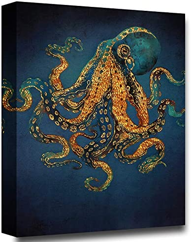 Faicai Copper Gold Octopus Wall Art Prints Nordic Blue Black Canvas Painting Modern Sea Life Artwork Picture Wall Decor