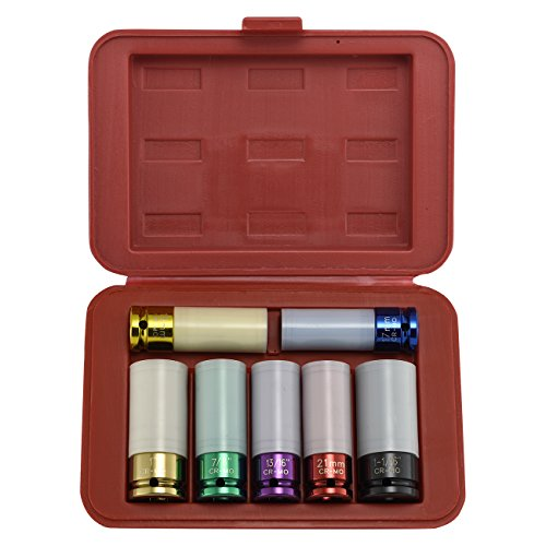 Neiko 02410A 1/2 Drive Impact Socket Set with Protective Sleeves, 7 Piece | Cr-M Steel | SAE and Metric - Crm Rim