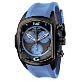 Invicta Men's 6730 Lupah Collection Chronograph Black Ion-Plated Light Blue Rubber Watch, Watch Central