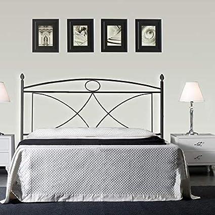 Cama de matrimonio de hierro color negro grafito con somier ...