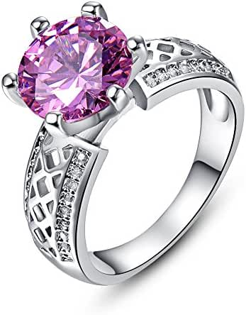Psiroy 925 Sterling Silver Delicate Pink Topaz Solitaire Filled Ring for Women