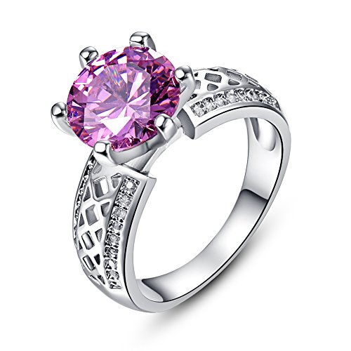 Psiroy 925 Sterling Silver Created Pink Topaz Filled Cocktail Solitaire Engagement Ring (Genuine Ring Topaz Engagement)