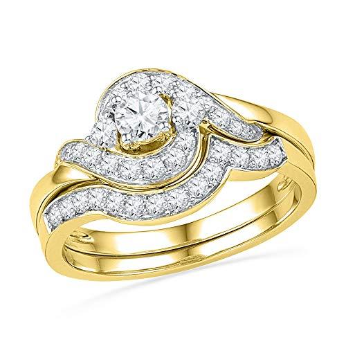 Diamond Swirl Engagement Ring + Wedding Band Bridal Set 3/4ct 14k Yellow Gold ()