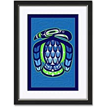 """Northwest Art Mall Seahawk Professionally Framed & Matted Giclee Travel Art Print by Dion Joseph Print Size: 12"""" x 18"""" Framed Art Size: 18"""" x 24"""""""