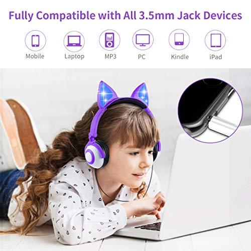 Cuffie per Bambini con Orecchie, Cuffie Over Ear con Filo per Ragazze e Ragazzi con luci LED, 85db Cancellazione del Rumore e Auricolare Pieghevole Compatibile con iPhone,Samsung,PC (Viola)