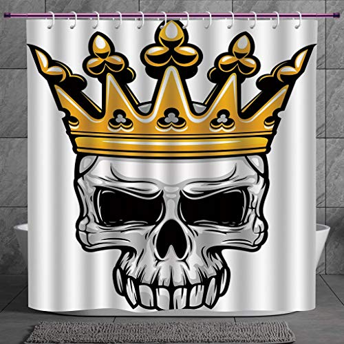 SCOCICI Cool Shower Curtain 2.0 [ King,Hand Drawn Crowned Skull Cranium with Coronet Tiara Halloween Themed Image Decorative,Golden and Light Grey ] Digital Print Polyester Fabric Bathroom Set