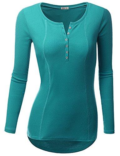 Doublju Womens Basic Casual Long Sleeve Thermal Henley T-Shirt TEAL 2XL
