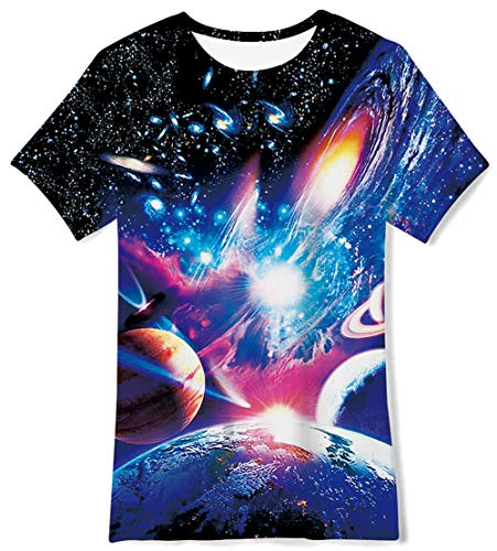 (Galaxy Space Lightting 3D Printed T-Shirts Casual Daily Tee Short Sleeve Top Crewneck Cool Soft Playwear Clthing for Teenager Youth Girls Boys,6-8 Years Old)