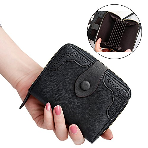 Women Leather Wallet Short Zipper Clutch Cash Credit Card Holder Cute Button Mini Coin Purse (Black) (Make Change Purse)