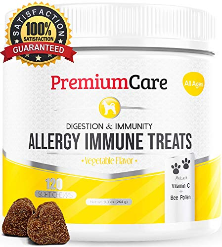 (Allergy Relief Immune Supplement for Dogs - Treats Seasonal & Food Allergies, Skin Itch, Hot Spots and More - Promotes Skin & Coat, Improves Digestion, Enhances Gut Health - 120 Chew Treats)