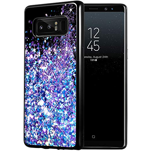 Galaxy Note 8 Case, Caka Galaxy Note 8 Glitter Case [Starry Night Series] Luxury Fashion Bling Flowing Liquid Floating Sparkle Glitter Girly TPU Bumper Case for Samsung Galaxy Note 8 - (BluePurple)