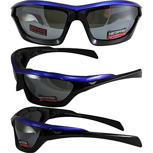 Global Vision Fast Track Motorcycle Sunglasses Blue, Black, Silver Three-Color Design Frames with Flash Mirror - Track Fast Eyewear