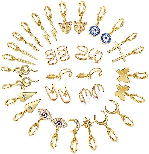 17 Pairs Gold Small Hoop Earrings Pack with Charm-Silver Mini Hoop Dangle Earrings with Charm- Huggie Hoop Earrings Set for Teen Girls And Women