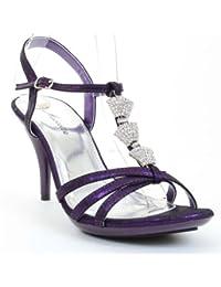 Jeweled Formal Wedding Bridal Low Heel Sandal Purple Fourever Funky