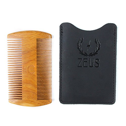 ZEUS Organic Sandalwood Double-Sided Beard Comb With Genuine Leather Sheath