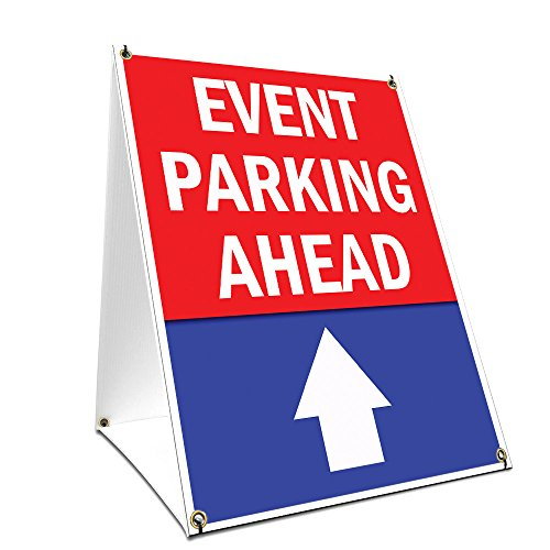 - A-Frame Sidewalk Event Parking Ahead with Up Arrow Sign with Graphics On Each Side | 24
