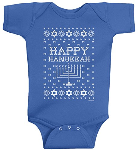 Threadrock Baby Boys' Happy Hanukkah (Ugly Sweater) Infant Bodysuit 12M Royal Blue