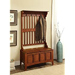 Charming Hall Tree with Storage Bench, Sturdy and Long-Lasting Wood Construction, 4 Coat Hooks, Spacious Seating Area Flips up for a Large Storage Section, 18 Inch Bench Seat, Walnut Finish
