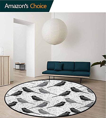 RUGSMAT Grey Modern Machine Washable Round Bath Mat,Floral Flower Buds Leaves Pattern English Country Style Victorian Lace Image Print Non-Slip Soft Floor Mat Home Decor,Diameter-24 Inch