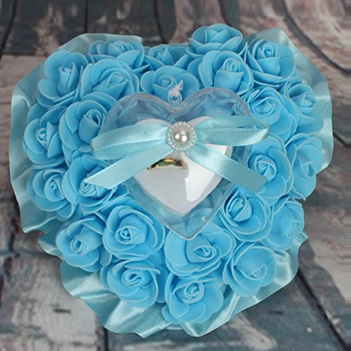M Wedding Ring Pillow Cushion Bride Rose Marry Ring Pillow, blue, 1716cm by bgblgf (Image #4)