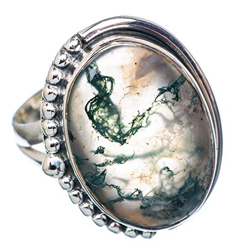 Green Moss Agate Ring Size 9.25 (925 Sterling Silver) - Handmade Boho Vintage Jewelry RING922185 ()