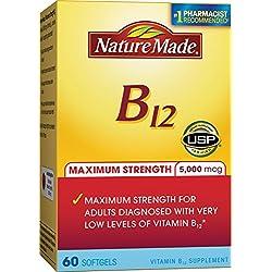 Nature Made Maximum Strength Vitamin B-12 Soft gel, 5000 mcg, 60 Count