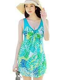 Womens One Piece Printed Mesh Beach Swim Dress Bow-Knot