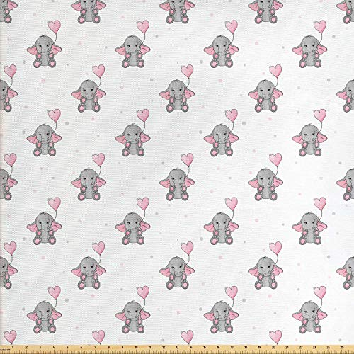 (Ambesonne Elephant Nursery Fabric by The Yard, Elephants Holding Heart Shaped Pink Balloons Girlish Design, Decorative Fabric for Upholstery and Home Accents, 1 Yard, Grey Pale Pink White)