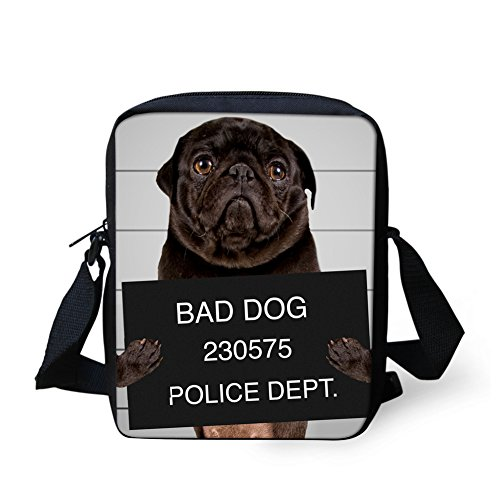 HUGS tracolla 3190E Bulldog a Y Borsa IDEA Dog Nero donna small rwq7gr