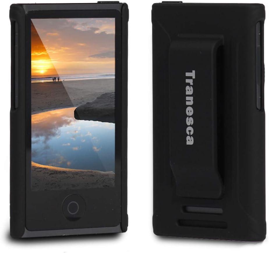 iPod Nano 7 case,Tranesca iPod Nano 7th & 8th Generation Rubber Cover Shell case with Belt Clip - Black