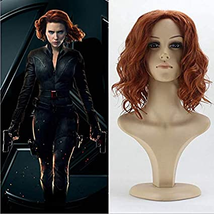 Avengers Endgame Black Widow Hair Synthetic Cosplay Party Wig Wigs 50cm