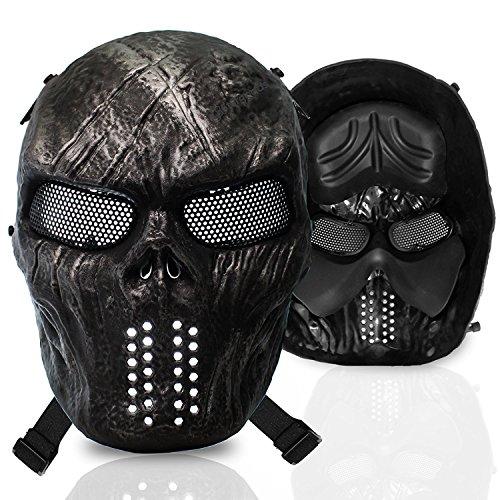 [Stargoods Skeleton AirSoft Mask - Metal Mesh Paintball, BB Gun & CS Games - Black] (Cool Gas Mask Costumes)