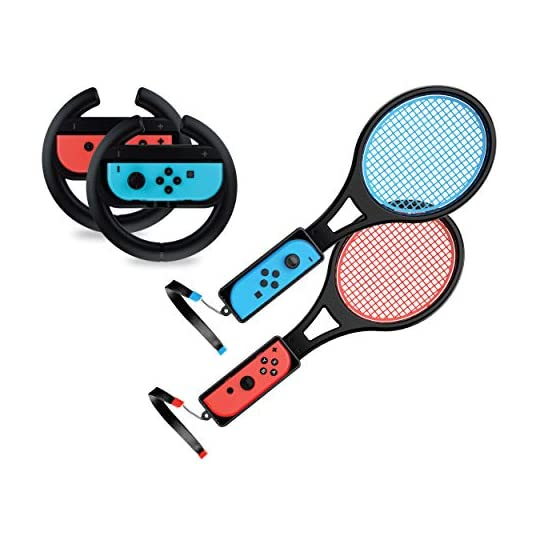 TALK WORKS Steering Wheel / Tennis Racket Combo Pack for Nintendo Switch – Joy Con Controller Grip Racing & Sports Game…