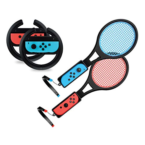 Steering Wheel / Tennis Racket Combo Pack for Nintendo Switch - via TalkWorks Joy Con Controller Grip Racing & Sports Game Accessories for Mario (Tennis Aces & Kart)