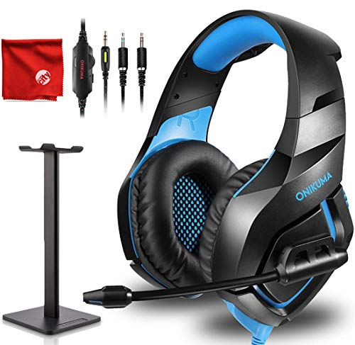 ONIKUMA K1-B Pro Blue Over-Ear Surround Sound Noise Cancelling Gaming Headset Microphone Bundle with Headphone Stand for PC, Xbox One, PS4, Nintendo Switch, Mac, Desktop, Laptop, - 6.56' Stereo Audio