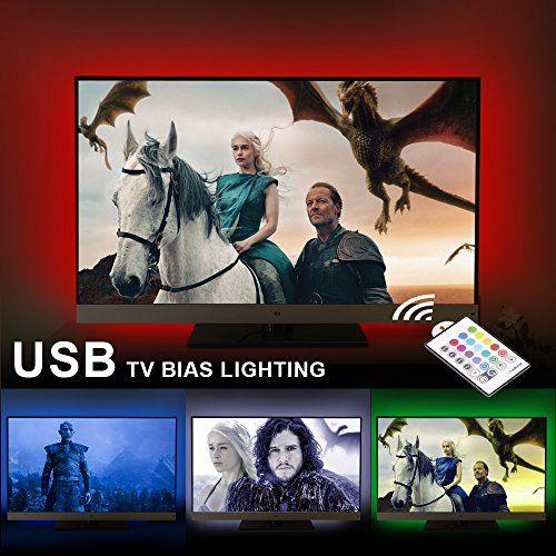 AirienX Dimmable USB LED TV Backlight Multi Color Bias Lighting Strip for 60 to 75 Inch HDTV RGB LED Strip Lights for Back of TV Lighting Home Movie Theater Mood Decor with Remote Control (60